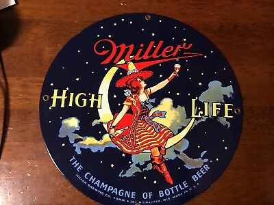 Miller High Life Girl In The Moon Ande Rooney Enameled Sign with Orig. Labels