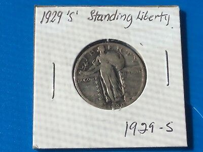 "1929 ""S"" US  Standing Liberty quarter dollar coin."
