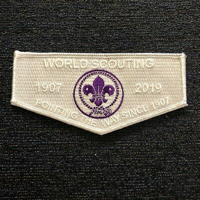 2019 World Scout Trading Post Jamboree Dated WSJ Year Crest on White Ghost Flap