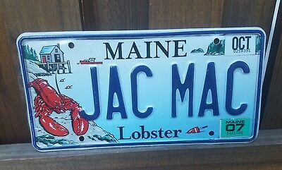 Maine stickered 2007 vanity license plate JAC MAC Beautiful Lobster Graphics