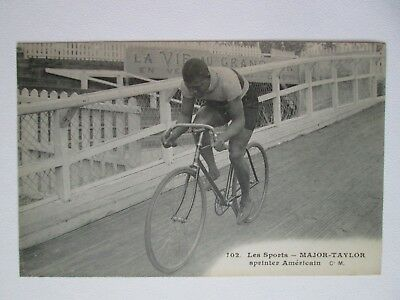 Antique Original Marshall Major Taylor Postcard Bicycle Velodrome Track Racer