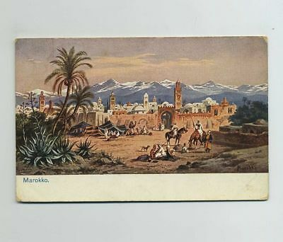 1915 Morocco Africa Artist Signed Perlberg Postcard Germany Stamp Cancel bv9085