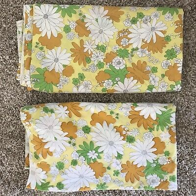 Vintage Full Queen Sheets Flowers Flat Lot Of Two