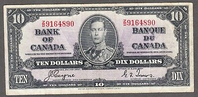 1937 Bank of Canada - $10.00 Bank Note - Coyne Towers - Very Fine - Z/D 9164890