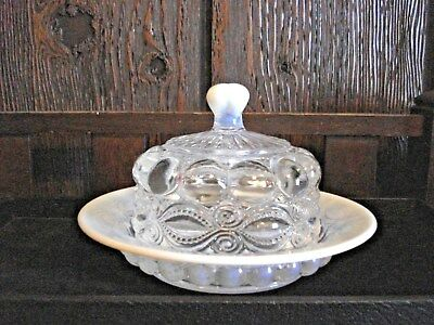 Vintage Mosser Opalescent/clear Glass Covered Dish