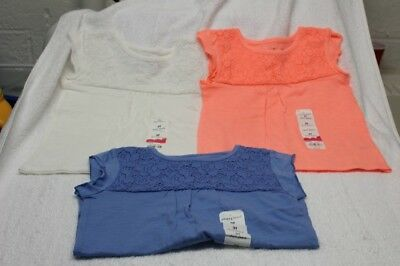 (3) GIRLS SZ 3T SHORT SLEEVE TEES-WHITE,PEACH,BLUE bY JUMPING BEANS-NWT'S