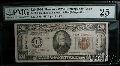 1934 Wwii Hawaii $20 Federal Reserve Note Emergency Issue Pmg 25 Very Fine