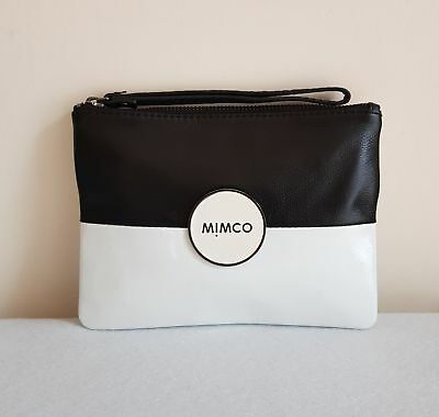 MIMCO TANDEM MEDIUM POUCH WHITE/BLACK Leather Silver Badge - CLEARANCE