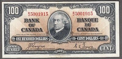 1937 Bank of Canada - $100.00 Bank Note - Coyne Towers - VF - B/J 5001915