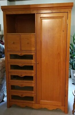 Jardine Solid Dark Pine Windsor Armoire and Changing Table