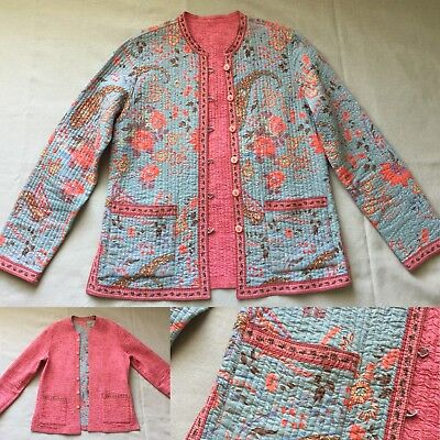 Vintage Cotton Thin Quilted Jacket Reversible Gray/Coral Floral Coat Boho S