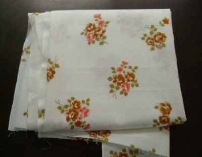 Piece of vintage dress fabric, floral roses,  textured cotton, 2.6 metres long