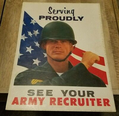 May 1967 Serving Proudly See Your Army Recruiter Poster Cardboard Recruiting