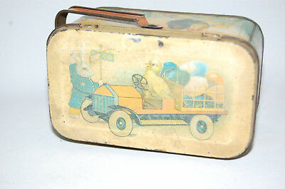 "Antique Vintage ""CHICK DRIVING TRUCK FULL OF EASTER EGGS"" TIN PAIL"