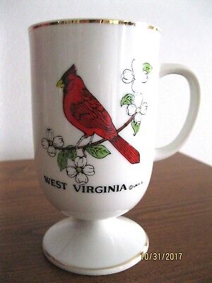 Souvenir Collectible, Ceramic Pedesal Coffee Mug, West Virginia, Cardinal, Japan