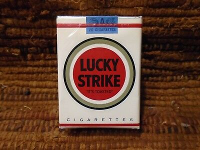 "Vintage Lucky Strike ""It's Toasted"" White Cigarette Pack  Excellent Condition!"