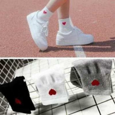 Heart Shaped Embroidery Envelope Patterned Solid color Women Cotton Short Sock D