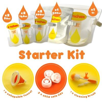 New Sinchies Starter Kit Food Pouches Reusable Infant Baby 80,140,200,500ml