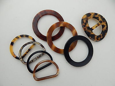FRANCE LUXE SCARF SASH BELT BUCKLE DELUXE FANCY LUCITE LOT of 8 BUCKLES