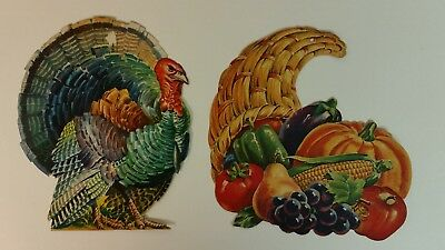 Vtg Dennison Thanksgiving Turkey & Horn of Plenty Paper Die Cut Out Cornucopia
