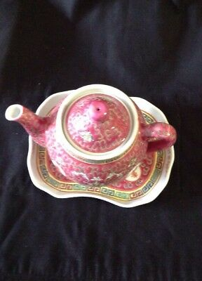 Chinese Famille Rose Teapot And Tray