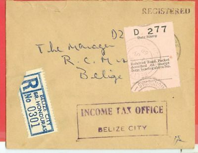 British Honduras Stampless INCOME TAX OFFICE Registered cover 1968