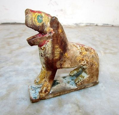 1850s Old Antique Hand Carved Polychrome Wooden Lion Figurine