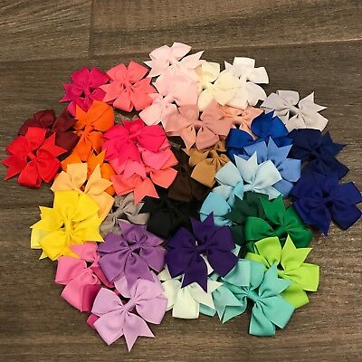 Set of 6 pairs pinwheel hair bow pigtails toddler alligator clip handmade 3 inch
