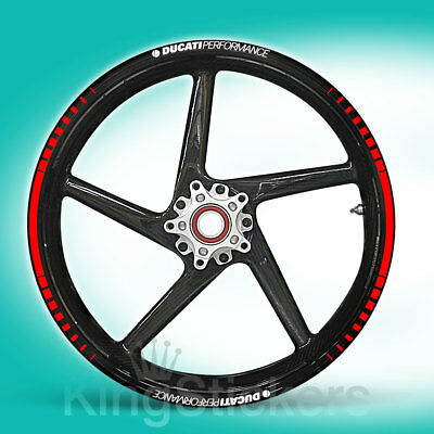 SET adesivi cerchi ruote DUCATI PERFORMANCE stickers - TIPO 1 - wheels decals