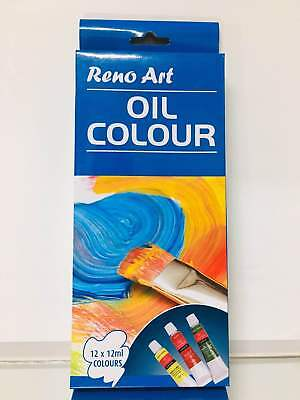 Reno Art 12 tubes Oil Colour Set Painting or Drawing available 12ml x 12colours