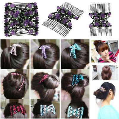 Magic Double Row Hair Comb Acrylic Beads Elasticity Clip Hair Combs Hairband NEW
