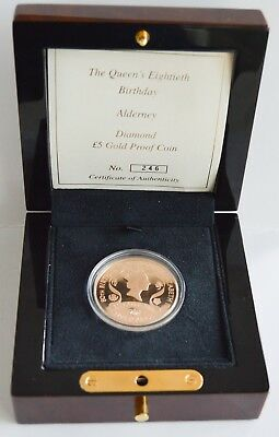 2006 Alderney Proof Gold 5 Pound Queen's 80th Birthday in Mint Case with COA