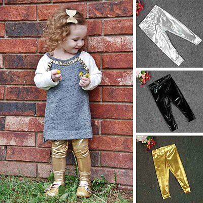 Active Unisex Baby Infant Full Length Legging Faux Leather Gilding Skinny Pants
