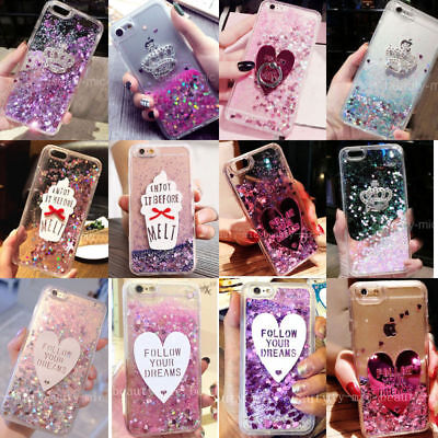 Cute Liquid Moving Quicksand Glitter Case+Clear Bling Phone Hard Back Cover