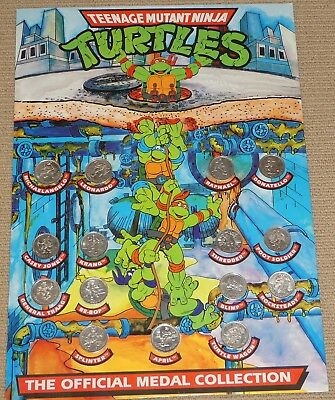 1990 TMNT 15 medal official collection complete set with backing board