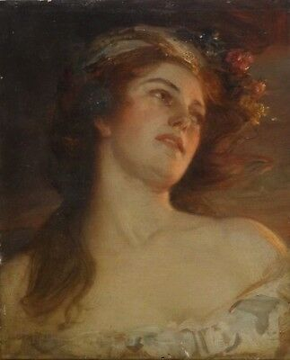 Fine 19th Century English Classical Lady Maiden Portrait Antique Oil Painting