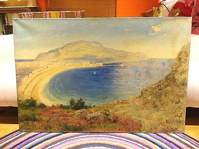 Fine Huge 19th Century Llandudno Bay Wales Landscape Antique Oil Painting KING