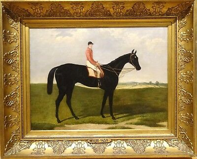 "Large 19th Century English Jockey & Horse ""Musjid"" Portrait Antique Oil Painting"