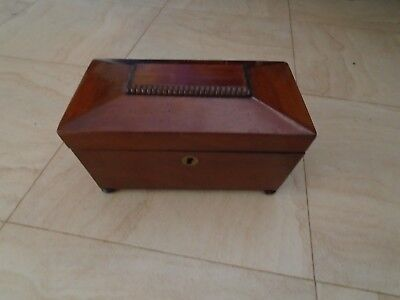 Antique Vintage Mahogany Tea Caddy  Could Be Wooden Desk Top Storage Box