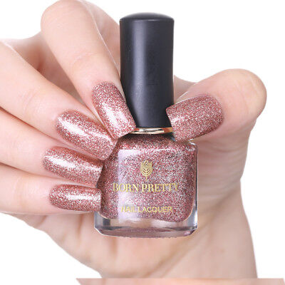 6ml Rose Gold Nail Polish Glitter Nail Art Varnish Manicure Nails BORN PRETTY