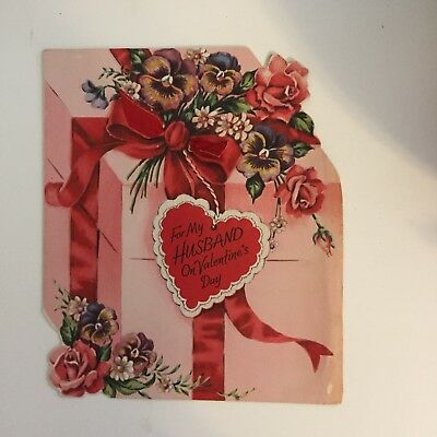 Vintage Valentines Day Card 1940s For My Husband Gift Ribbon DA Line Roses Pansy