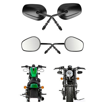 Black Rearview Side Mirrors Motorcycle Cruiser For Harley Davidson Street Glide