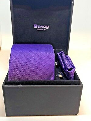 Brand New- Silk Tie ,Pocket Square and Rhodium Plated Cuff Link Set (Purple)