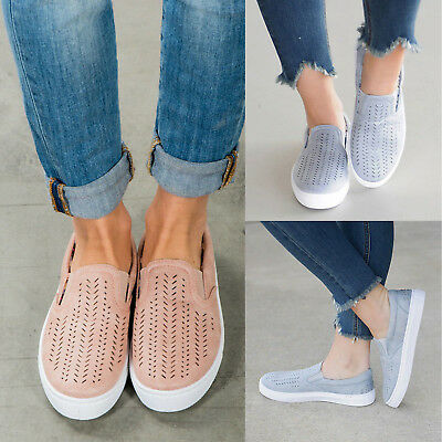 Women Casual Comfort Canvas Shoes Hollow Out Flats Slip On Loafers AU Size 4.5-9