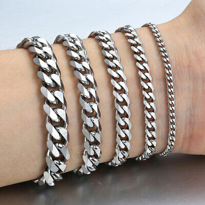 Bracelet for Men Curb Chain 3/5/7/9/11mm Black Silver Gold Stainless Steel Link