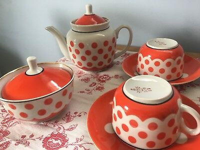 Vintage Soviet Polka Dot Tea Set