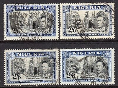Nigeria KGVI 1938-51  2s6d  4x Different Perf Size SG58, 58a, 58b & SG58 VF Used