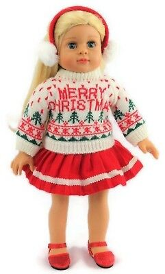 """Merry Christmas Sweater, Skirt, & Earmuffs for 18"""" American Girl Doll Clothes"""