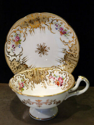 Beautiful Victorian Antique Gilded & Floral Painted China Cup & Saucer.