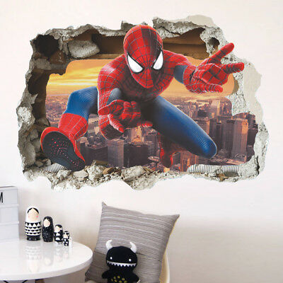 Large SuperHero Spiderman 3D Removable Wall kids boys rooms decal wall sticker